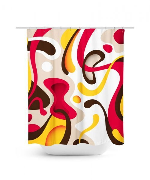 Red and Brown Modern Spanish Modern Art Style Shower Curtain