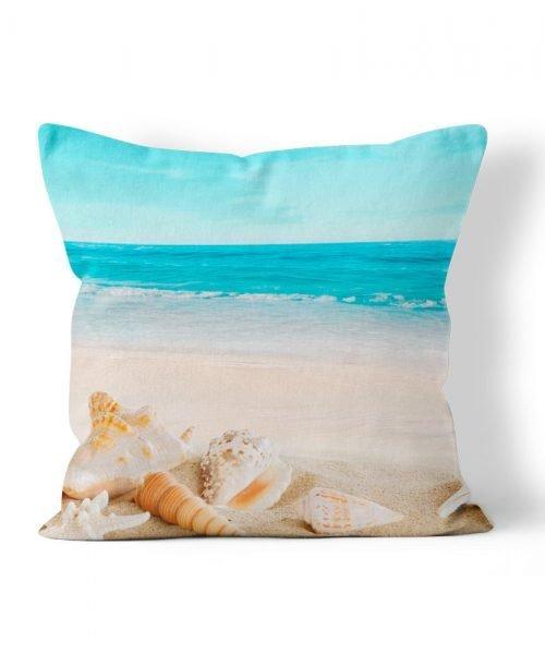 Beach with Shells Photo Outdoor weatherproof pillow