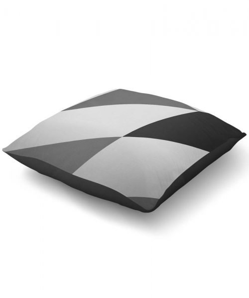 black and grey geometric print floor pillow