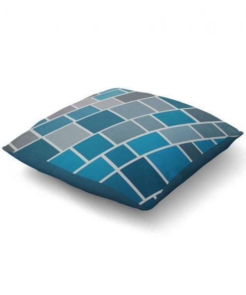 Blue Geometric Brick Pattern Print Floor Pillow