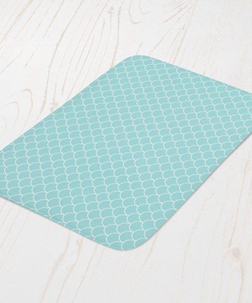 Blue Scale Pattern Bath Mat