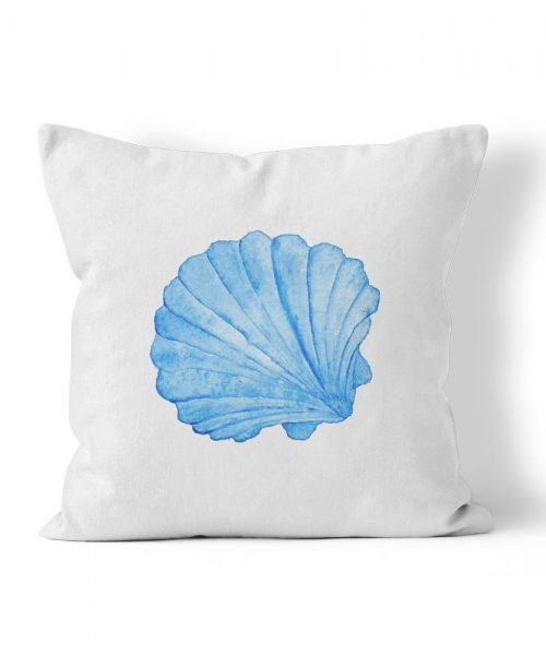 Blue watercolor scallop shell graphic outdoor pillow