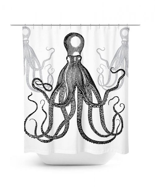 Group of 3 Octopus Illustration Shower Curtain