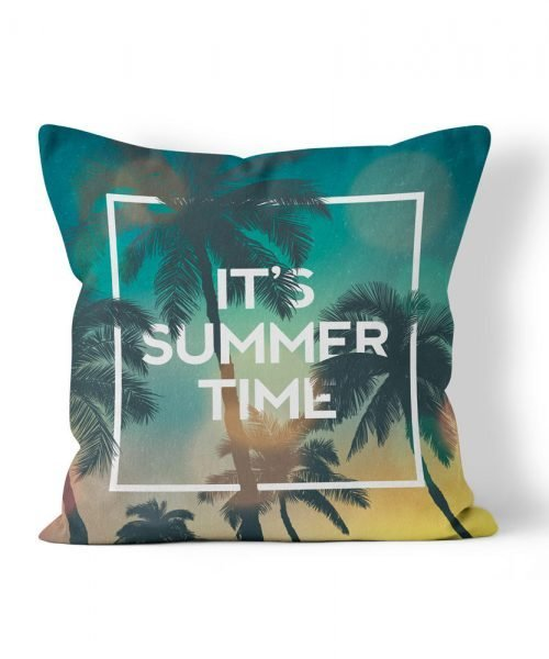Its Summer Time Palm Tree Graphic outdoor pillow