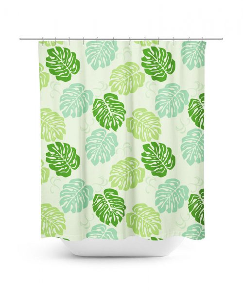 Large Leaf Philodendron Pattern Shower Curtain