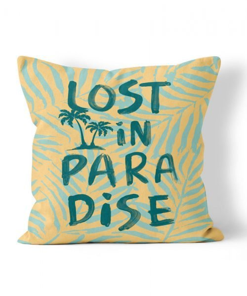 Lost in Paradise Graphic Print weatherproof pillow