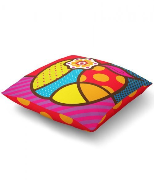 pop art apple graphic floor pillow