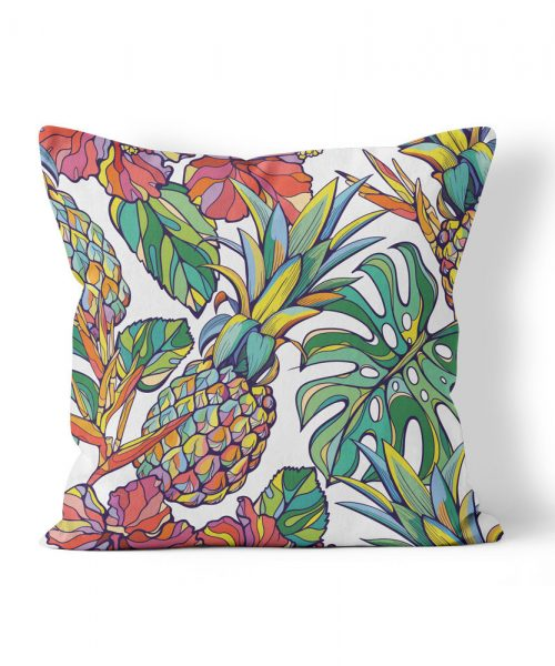 weatherproof pillow with pineapple and palm leaf graphics