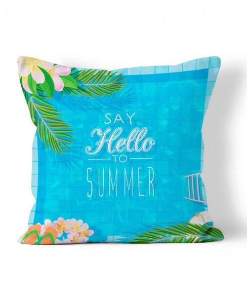 swimming pool with palms graphic outdoor weatherproof pillow