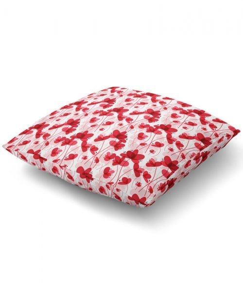 Vibrant Red Floral Print Floor Pillow