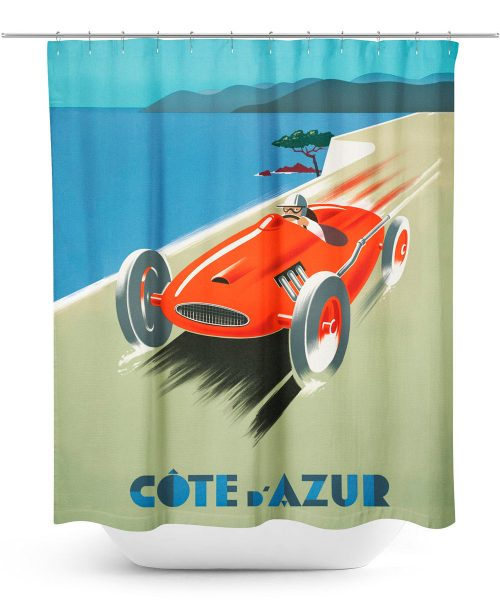 Vintage Racing Poster Shower Curtain