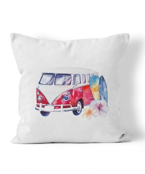 VW Bus with Surfboard Graphic Outdoor Pillow