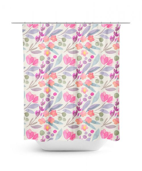 Watercolor Tulip Flower Pattern Shower Curtain