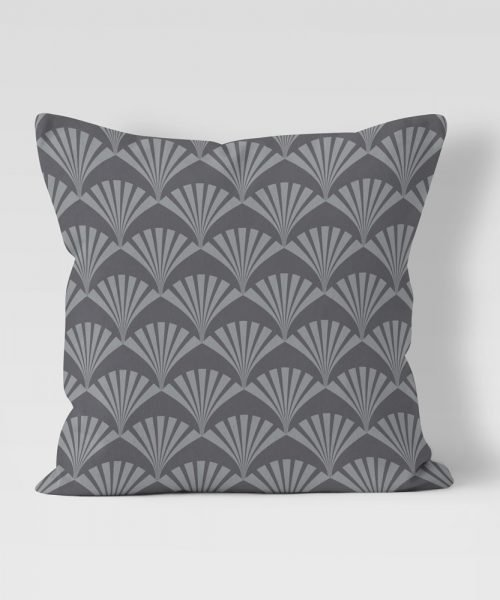 Art Deco style fan graphic - Grey on Charcoal outdoor pillow
