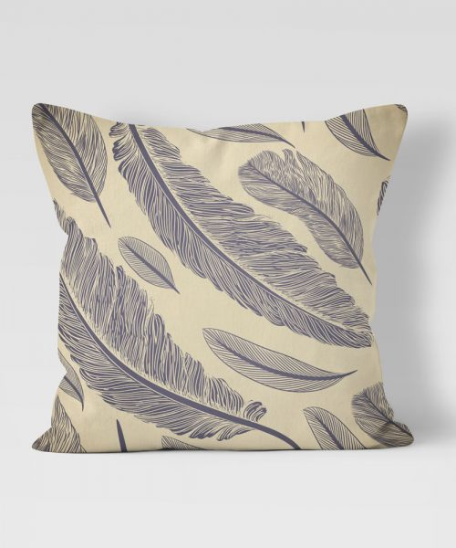 Feather Quill Pattern on Tan outdoor pillow