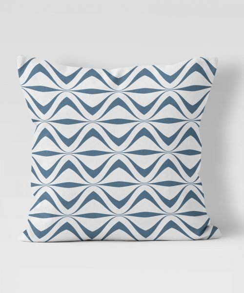 Geometric Line Pattern in blue on white outdoor pillow
