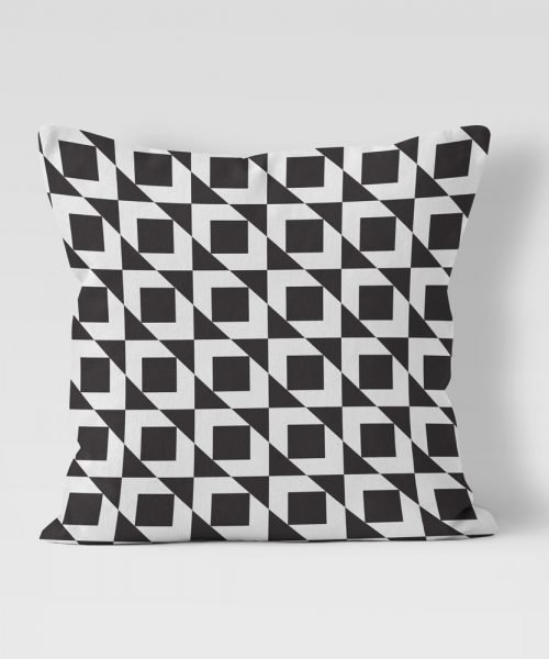 Geometric Pattern black and white outdoor pillow