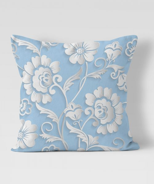 Paper cut flower graphic on pale blue background outdoor pillow