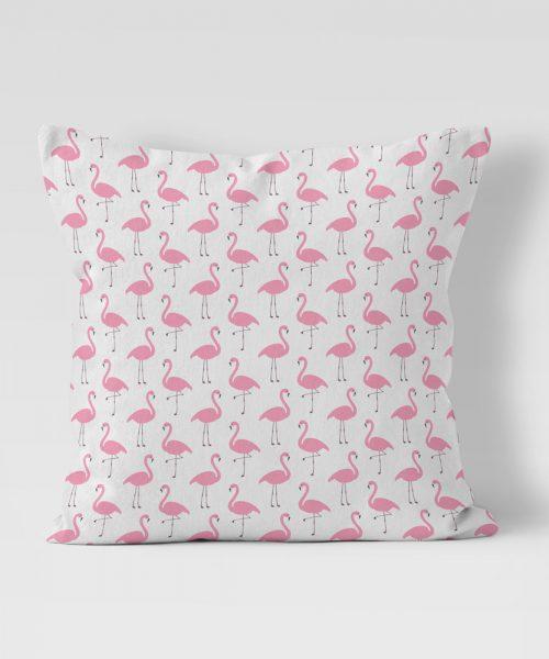 Pink Flamingos on White Background Outdoor Pillow