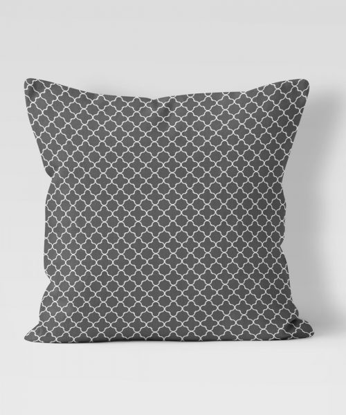charcoal grey quatrefoil pattern outdoor pilllow
